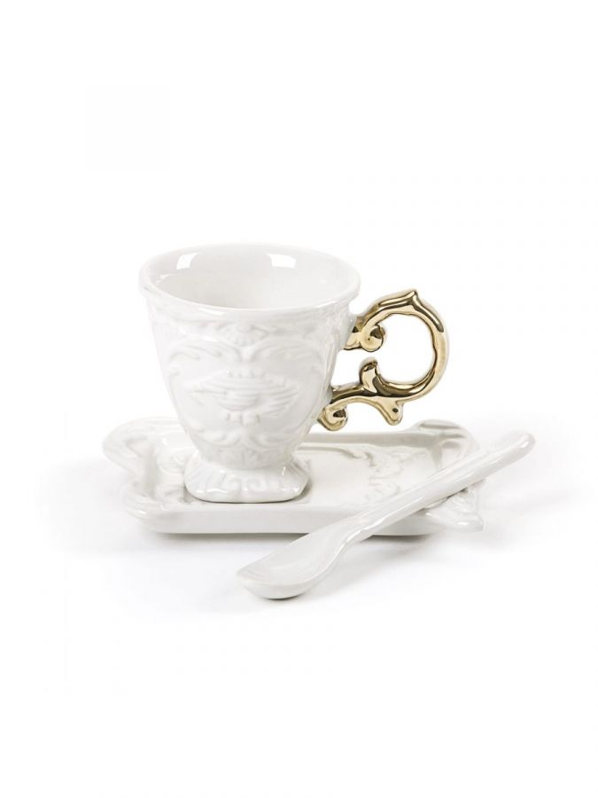 I-wares Gold I-Coffee Coffee cup + Saucer + Spoon